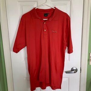 Men's red/orange short sleeve polo size large